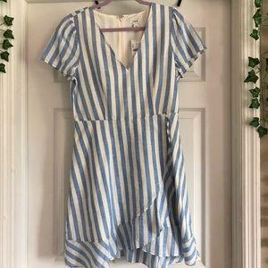 J. Crew // Blue + White Stripe Wrap Look Dress
